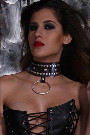 BDSM Collare con Borchie e Anello